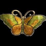 Large Vintage Norwegian Hroar Prydz Green and Ochre Enamel Butterfly Brooch