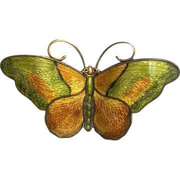 Large Vintage Norwegian Hroar Prydz Green and Ochre Enamel Butterfly Brooch