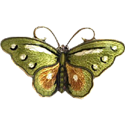 Small Vintage Norwegian Hroar Prydz Green, Ochre and White Enamel Butterfly Brooch