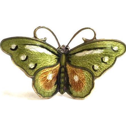 Small Vintage Norwegian Hroar Prydz Green, Ochre and White Enamel Butterfly Brooch