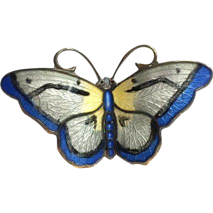 Small Vintage Norwegian Hroar Prydz Blue, Silver and Yellow Enamel Butterfly Brooch