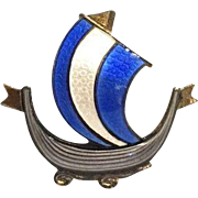 Vintage Norwegian Aksel Holmsen Blue and White Enamel Viking Ship Brooch