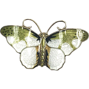 Medium Vintage Norwegian Hroar Prydz Green and White Enamel Butterfly Brooch