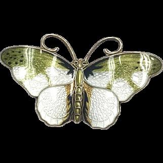 Medium Vintage Norwegian Hroar Prydz Green and White Enamel Butterfly Brooch