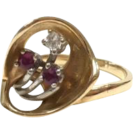 Unique Vintage 1930s 14k White and Yellow Gold Everyday Ring with Rubies and Diamonds