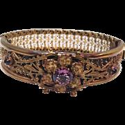 Antique Gilt Filagree Hinged Bangle Bracelet with Purple Rhinestone Flower