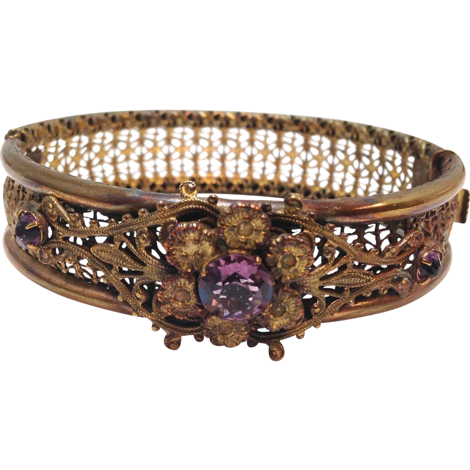Antique Gilt Filagree Hinged Bangle Bracelet with Purple Rhinestone Flower