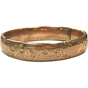 Antique gold filled engraved hinged bangle bracelet