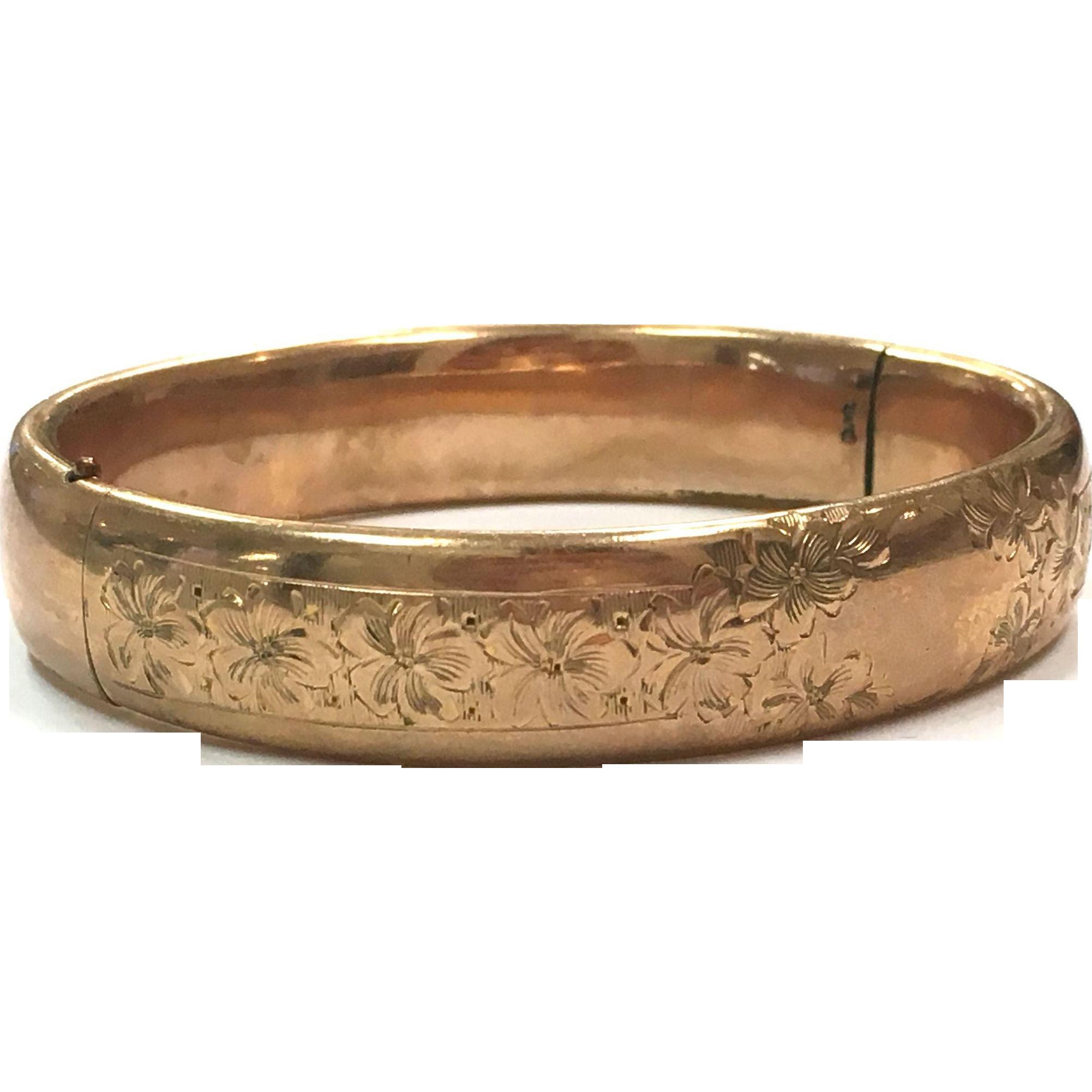 Antique gold filled engraved hinged bangle bracelet