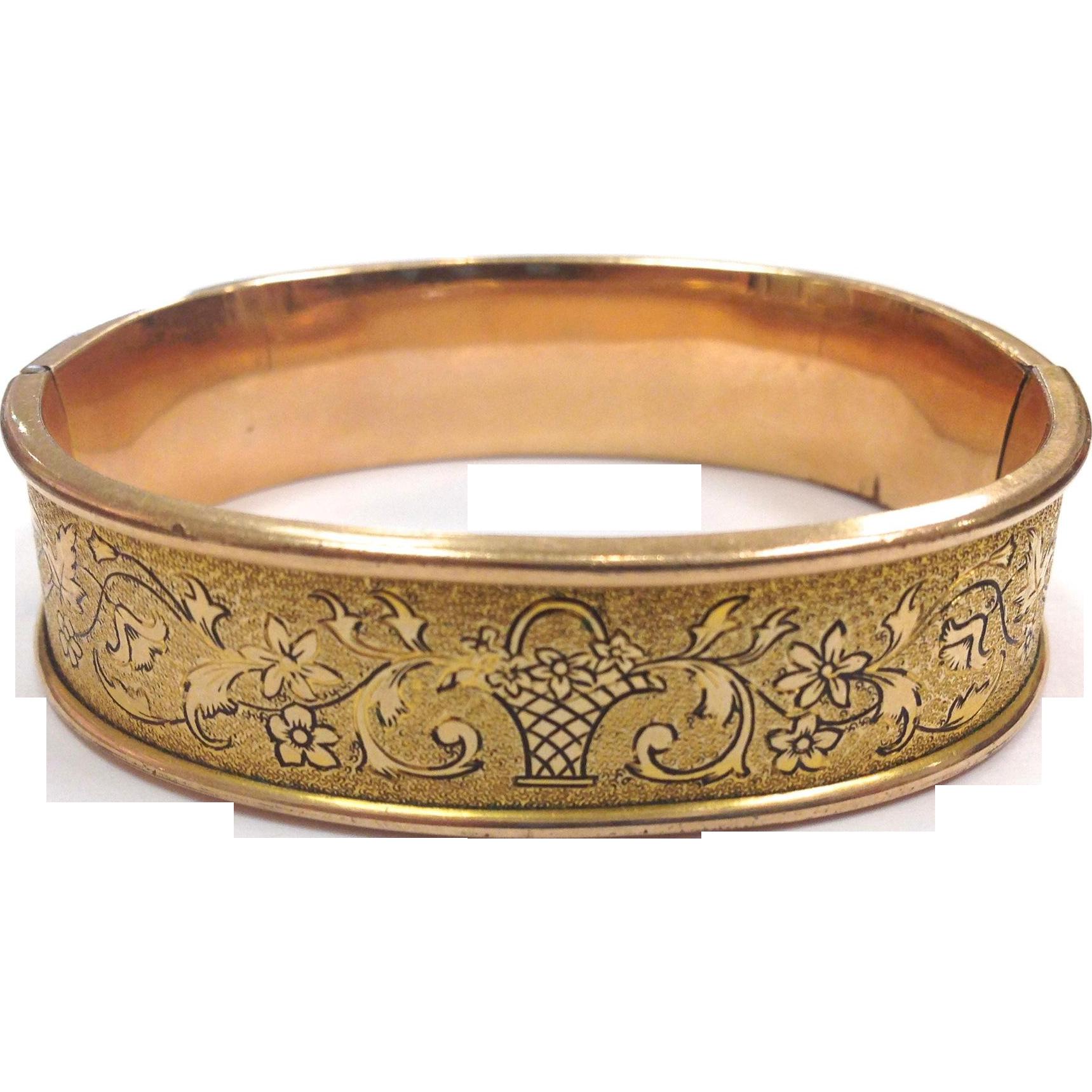 Antique Gold Filled hinged bangle bracelet with black enamel basket engraving