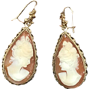 Solid 14k yellow gold teardrop Large gold cameo earrings