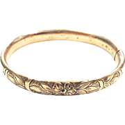 Antique Gold Filled Hinged Bangle Bracelet with Repousse Detailing