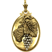 Antique Swedish 1880s 18k gold and seed pearl Grape pendant with Hussar soldier picture
