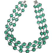 Vintage 1920s Sterling Silver Prong and Bezel Set Emerald Green Faceted Glass Three Strand Necklace