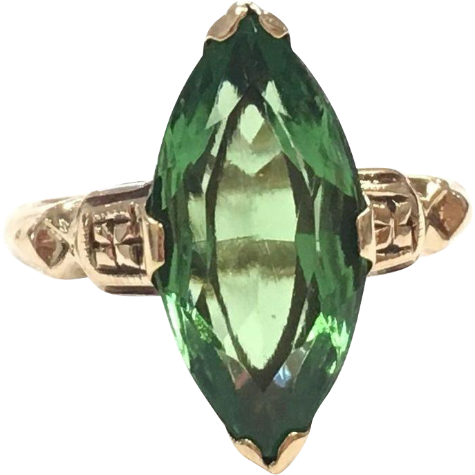 Victorian 10k Yellow Gold and Green Glass Marquise Faceted Ring
