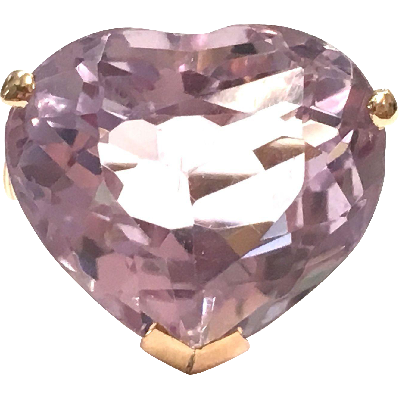 Incredible Large Pale Purple Heart Amethyst Ring in a Handmade 1960s 14K Rose Gold Setting