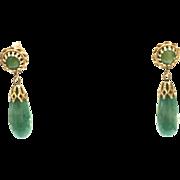 Vintage 1950s 14k Yellow Gold Green Jade Teardrop Pierced Earrings