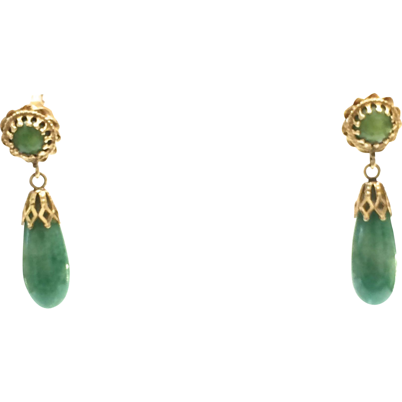 Vintage 1950s 14k Yellow Gold Green Jade Teardrop Pierced Earrings