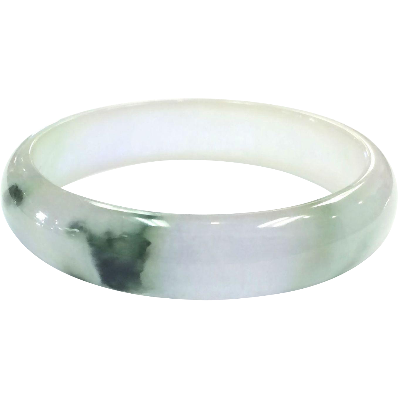 Vintage Pale Jade Bangle Bracelet with Dark Green Inclusions