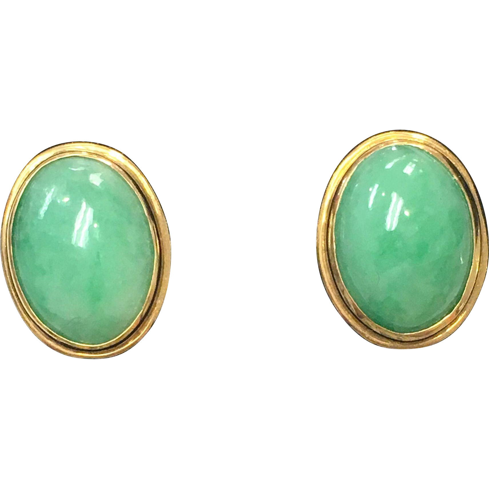 Vintage Green Jade Cabochon Oval Pierced Earrings in 14k Yellow Gold