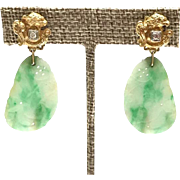 Vintage 14k Yellow Gold Carved Jade Earrings with Diamonds griffins