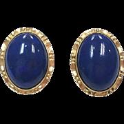 Vintage 14k Yellow Gold Lapis Cabochon Earrings