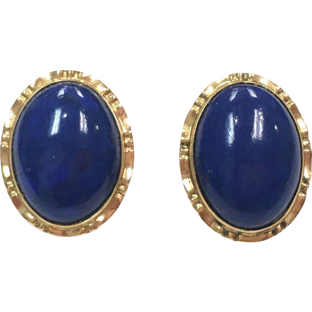 Vintage 14k Yellow Gold Lapis Cabochon Earrings