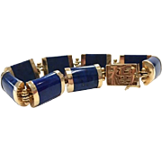 Vintage Royal Blue Lapis Lazuli and 14K Yellow Gold Asian Chinese Articulated Bracelet