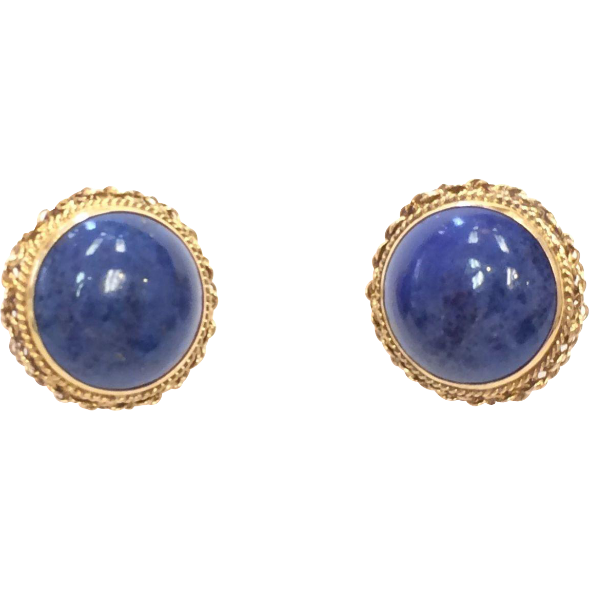 Vintage 1960s Solid 14k Yellow Gold Lapis Lazuli Cabochon Clip on Button Earrings