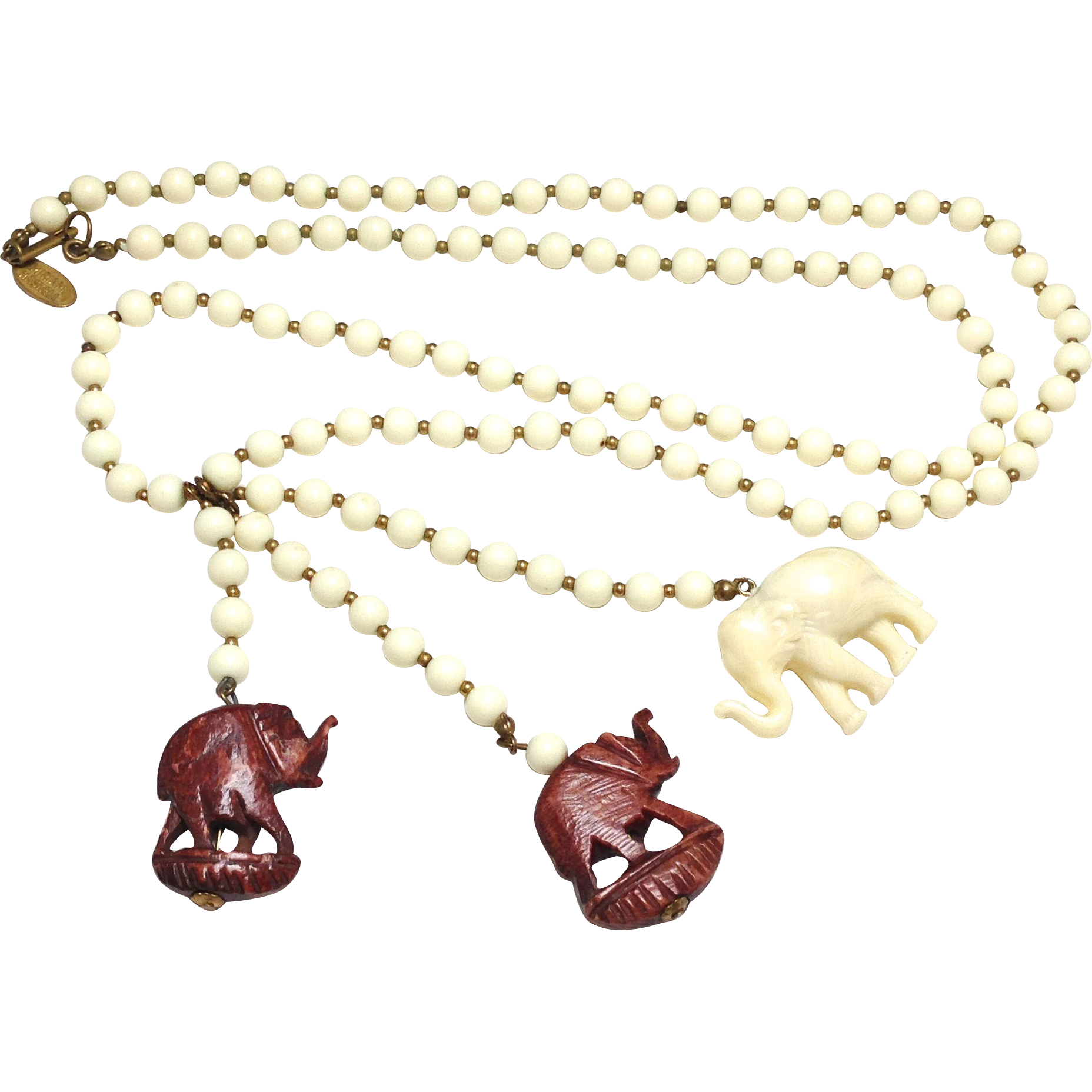 Vintage 1960s Miriam Haskell Elephant charm faux ivory Necklace