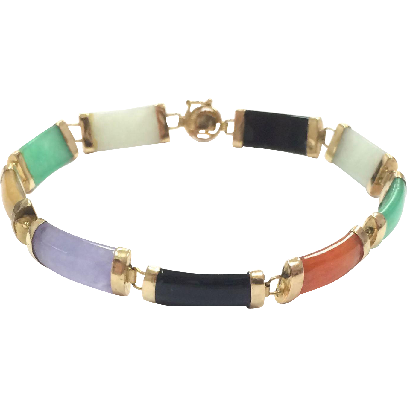 Vintage 14k Yellow Gold Multicolored Asian Themed Jade Bracelet