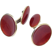 Vintage sterling silver signed Einar Modhal red orange Norwegian enamel cufflinks