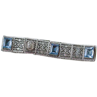 Delta Sigma Epsilon sorority crest sterling silver filigree rhodium plated Art Deco bracelet with blue faceted stones Greek life