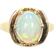 Vintage 9k Yellow Gold Single Large Opal Ring