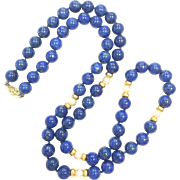 Vintage Lapis Lazuli Bead, Pearl, and 14k Yellow Gold Spacer hand knotted necklace