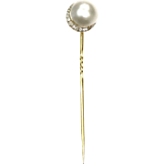 Vintage 1960s 14k Yellow Gold Mabé Pearl Stick Pin with Diamond Crescent Moon Detail