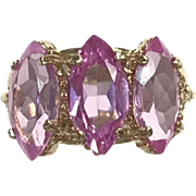 10k Yellow Gold gold ring with 3 Marquis cut pale pink stones