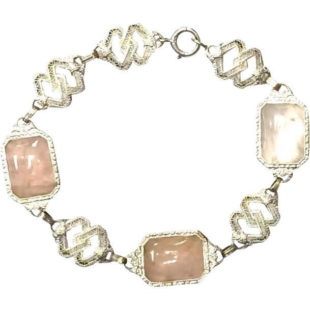 Antique Art deco 1920s 14K white gold filigree pink rose quartz bracelet