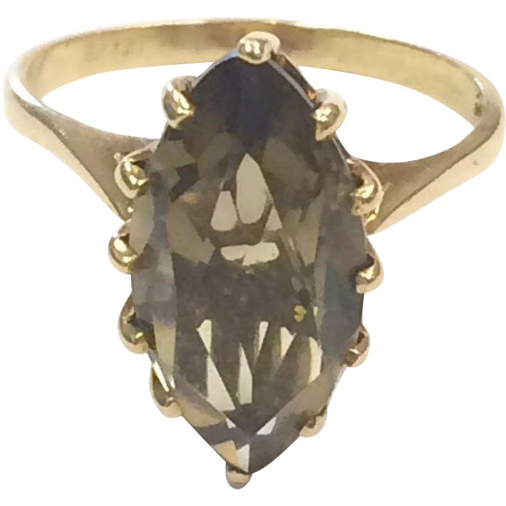 Vintage 1960s 10k Yellow Gold Smoky Topaz Marquis Ring