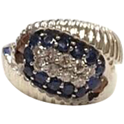 Heavy 18K White Gold Diamond and Blue Sapphire Cocktail Statement Ring