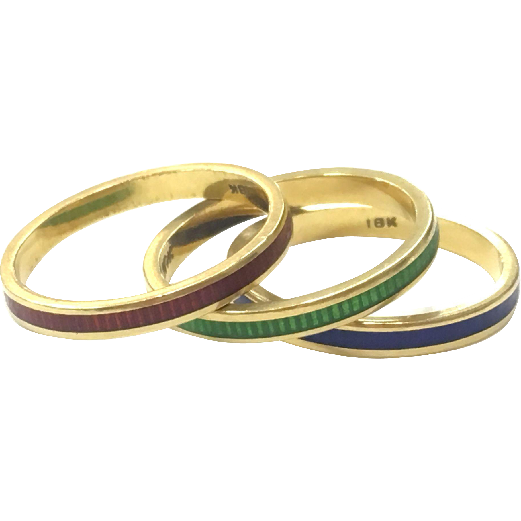 Vintage set of three 18K Yellow Gold Stacking Rings with Red, Green and Blue Enamel