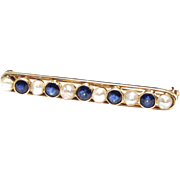Antique Art Nouveau 14K yellow gold sapphire natural pearl bar pin