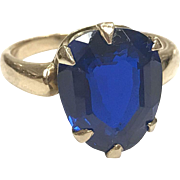 Unusual 1940s 14k Yellow Gold Ring with Bright Sapphire Blue Spinel Stone