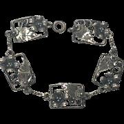 Vintage 1940s Solid Sterling Silver Unusual Floral Link Bracelet