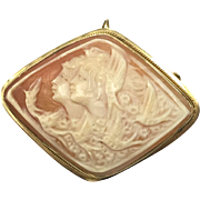 Vintage unusual cameo pin or pendant made of 18 karat yellow gold and carved conch shell of two women and flying birds