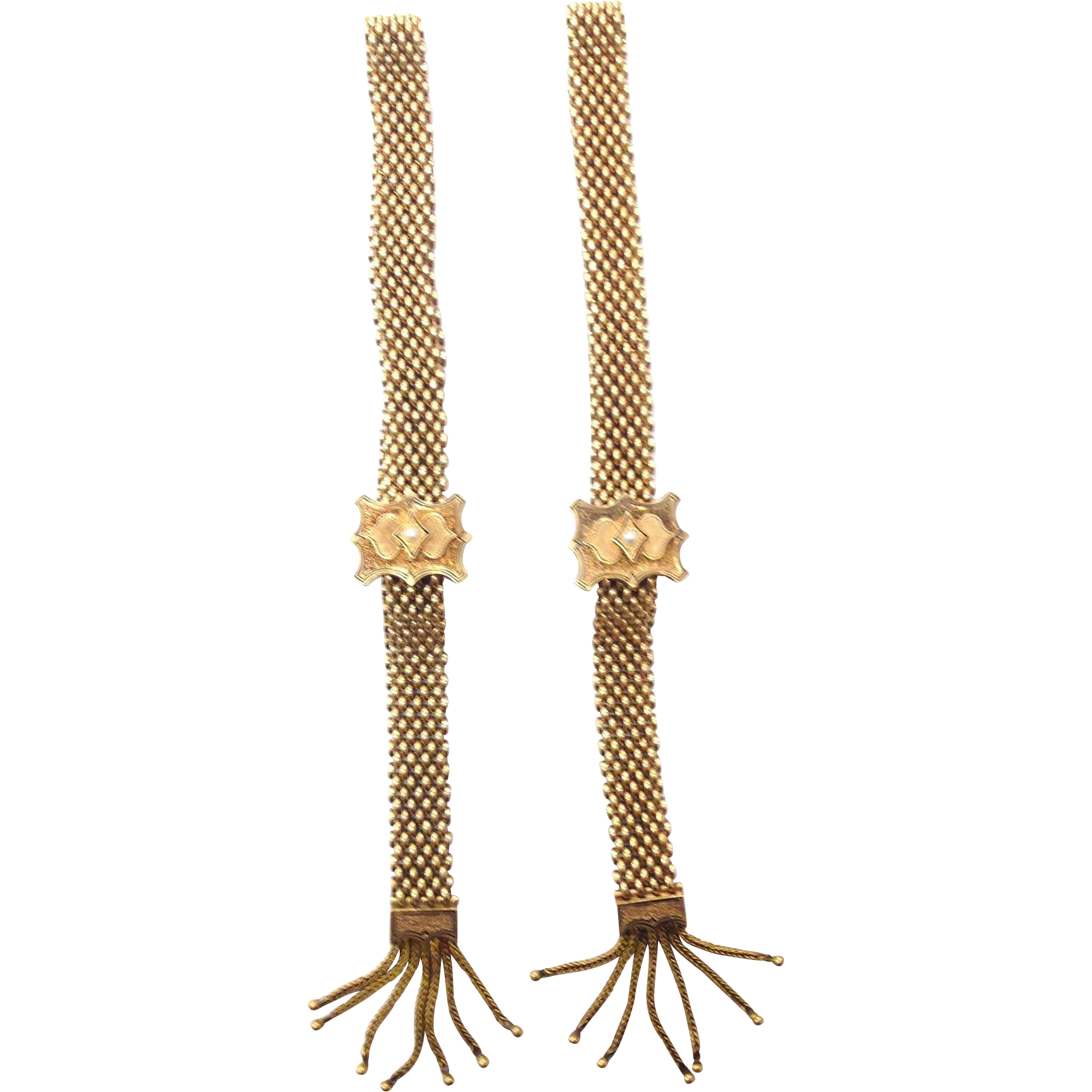 Solid 14k yellow Victorian Slider bracelets with Enamel, Seed Pearls, and fringe