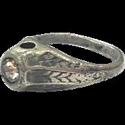 Vintage Stanhope Rhinestone Crystal Ring with Secret Peephole View of Rubenesque Female Nude Portrait