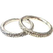 Antique Signed Sterling Silver Hollow Repousse Matching Pair of Bangle Bracelets