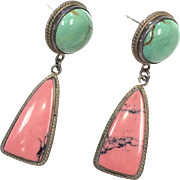 Sterling Silver Darla N. Signed Turquoise and Pink Stone Pierced Earrings
