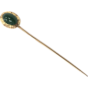 Vintage 1960s 14 K Yellow Gold Stick Pin with Chalcedony Cabochon